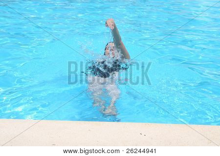 Backstroke in the pool
