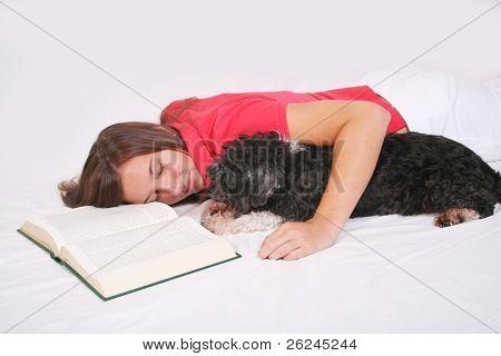 asleep with a dog