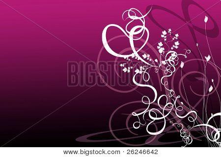 Magenta background with flourishes