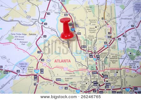Thumb tack pinpointing the city of Atlanta Georgia