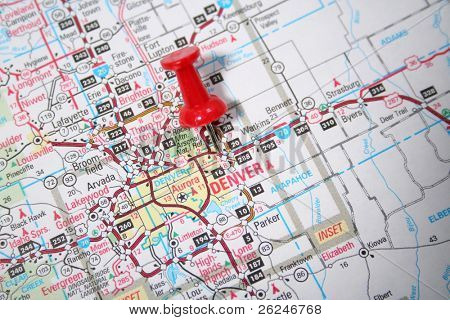 Denver Colorado on a map pinpointed by a red thumb tack