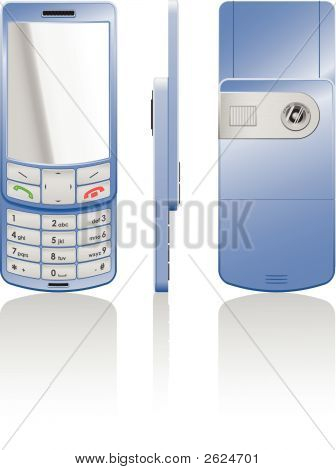Vector Illustration Of A Blue Cellphone-Slider