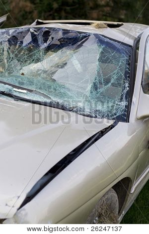 Car badly damaged in an accident with a drunk driver