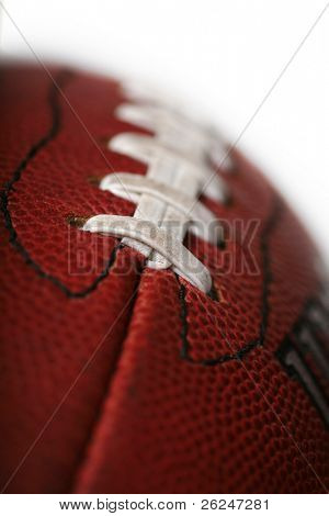 Macro of a new football with a shallow depth of field