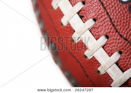 Close up view of part of a football showing the laces