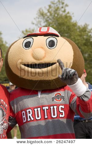 Brutus the Buckeye, Ohio State's mascot, gives the number 1 sign