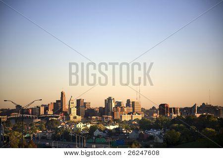 Cincinnati, Ohio skyline, looking north at the city from Kentucky