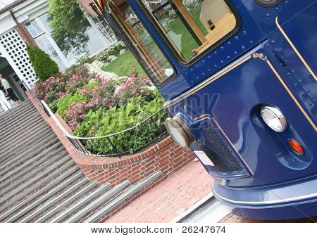trolley outside the Chatham Bars Inn on Cape Cod