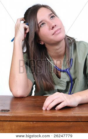 Puzzled looking medical student