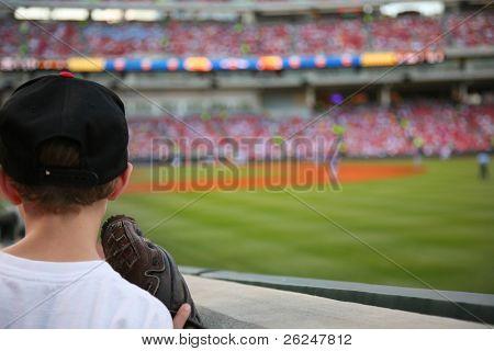 Young baseball fan watches the major league baseball game