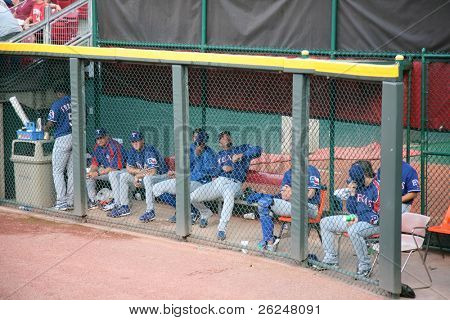 Texas players in the bullpen