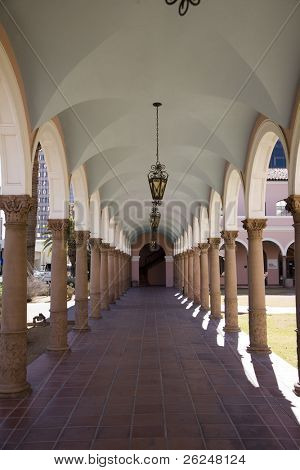 Outside corridor at the Pima County Courthouse in Tucson, Arizona