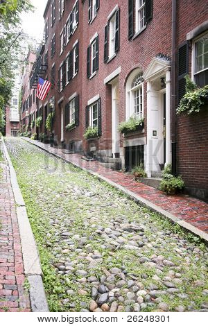 Acorn Street, the oldest street in the Beacon Hill area of Boston Massachusetts