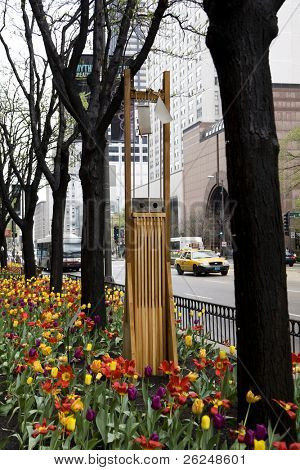 Art in the gardens along Michigan Avenue in Chicago