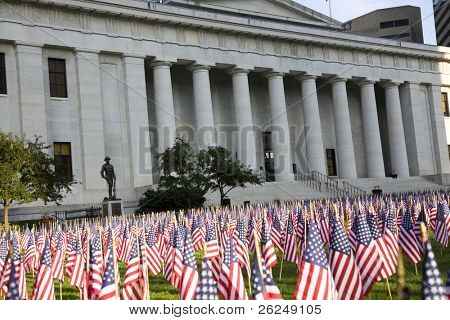 flags fly in the lawn at the Ohio Statehouse to commemorate those who died 9/11