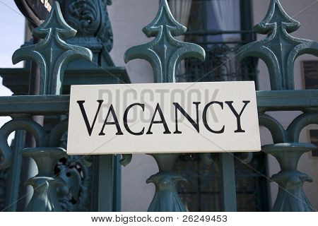 Vacancy sign at a Bed & Breakfast