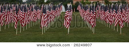 border of American flags
