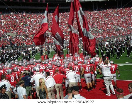 COLUMBUS, OHIO - SEPTEMBER 18: The Ohio State Buckeyes  prepare for their game against the OU Bobcats on September 18, 2010 in Columbus, OH.