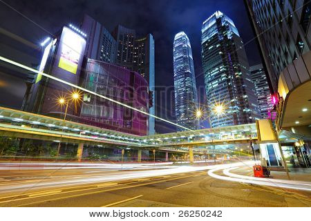 light trails in mega city at night