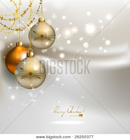elegant  glimmered Christmas background with shine evening balls
