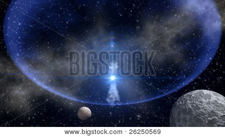 Blue star explosion in outer space