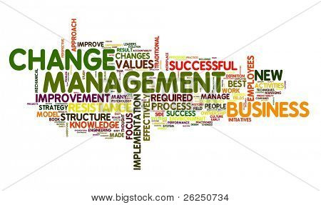 Change management concept in word cloud on white