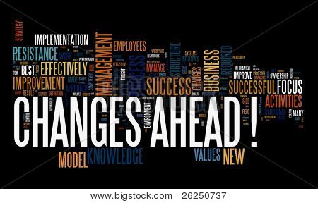 Changes ahead concept in word cloud on black background