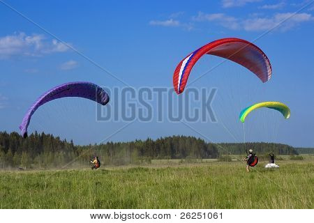 three colour paraglider