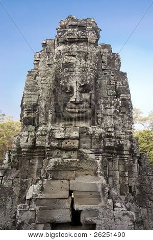 Four-faces Vishnu in Bayon temple in Angkor Thom
