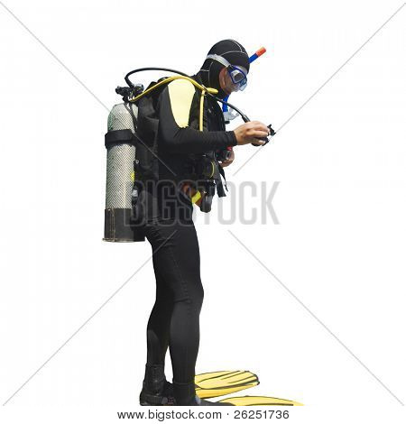 Diver isolated on white background