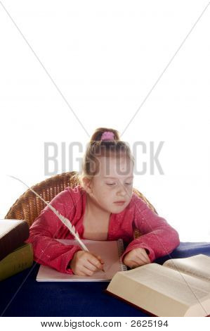 Young Girl Studying The Books