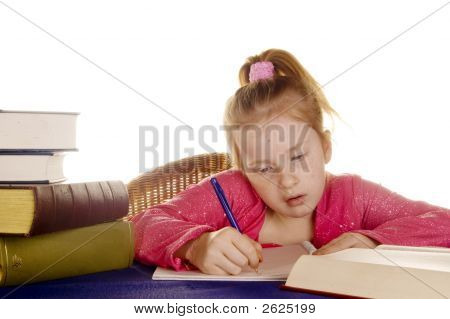 Young Girl Is Studying The Books