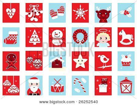 Advent Calendar, Retro Christmas Icons Isolated On White..