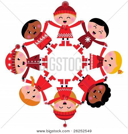 Happy Multicultural Winter Kids Holding Hands Isolated On White ( Red )