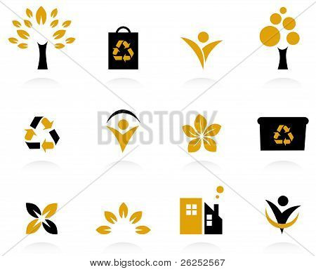 Ecology, Nature And Environment Icons Set Isolated On White - Retro..