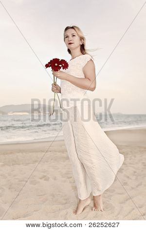 Young fashion woman with flowers. Retro style