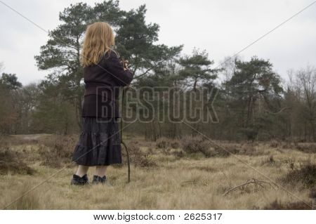 Little Shepherd Looking Into The Woods