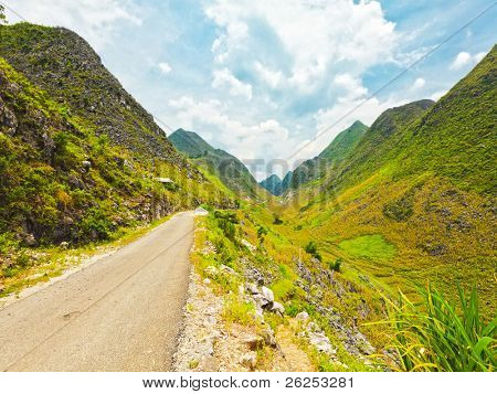 Mountain road in beautiful valley. Ha giang. Vietnam