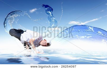 Street dancer in a white shirt on an abstract water background. collage