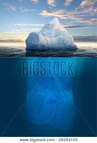 Iceberg Antártico no oceano. Fundo do mar polar.