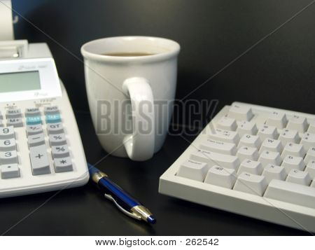 Calculator Keyboard And Coffee Cup 2