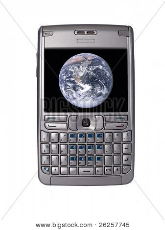 personal digital assistant with nasa earth planet image on the screen