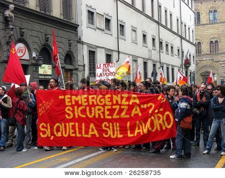 Labour May Day demonstration in the italian city Bologna