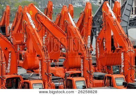 excavators import export in the russian port Vladivostok