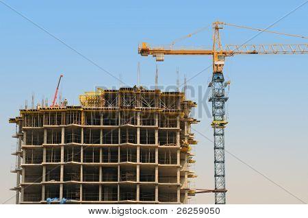 modern monolithic housebuilding and crane