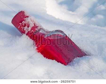 cranberry vodka in the snow