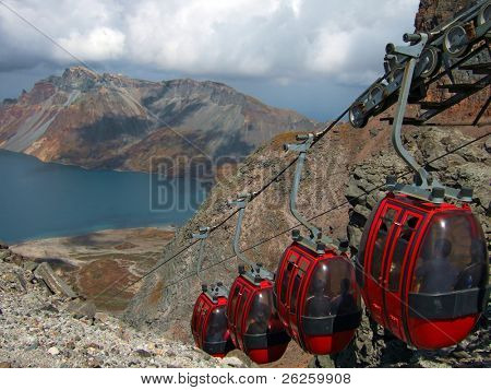 aerial ropeway to the top of famous North Korea Paktusan mountain