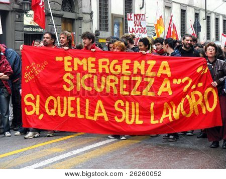 BOLOGNA - MAY 1: Labour May Day demonstration of the italian workers in the city Bologna, May 1, 2008, Italy