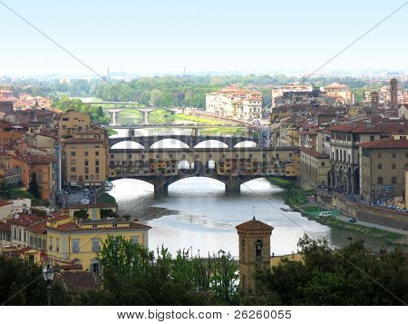 Panoramic view of famous bridge Ponte Vecchio on Arno river in Florence Firenze Tuscany Italy