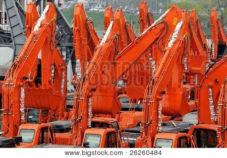 excavators import export in the russian port Vladivostok